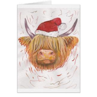 Cartão vaca das montanhas do coo do Natal com chapéu do