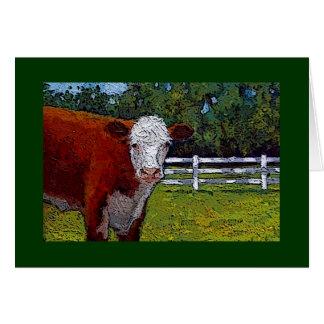 Cartão Vaca de Hereford no pasto: Ilustração: Animal de