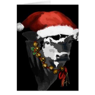 Cartão Vaca de leiteria preto e branco para o Natal