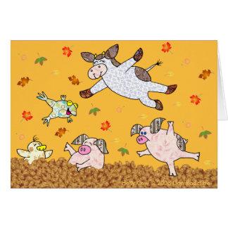 Cartão Vaca do azevinho, tempo de salto da folha!