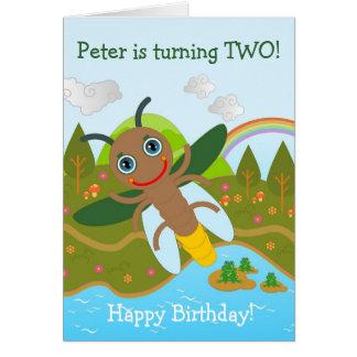 Cartão Vaga-lume que deseja o feliz aniversario