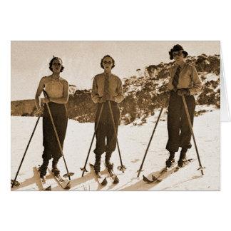 Cartão Vagabundos de esqui 1942 do esqui ' das mulheres