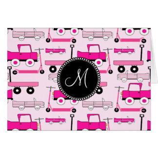 Cartão Vagões cor-de-rosa dos patinetes dos caminhões dos