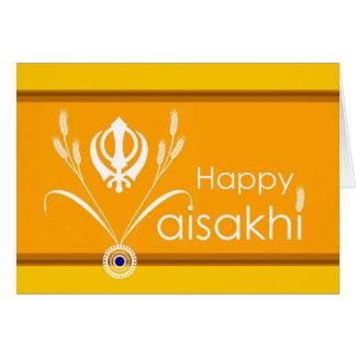 Cartão Vaisakhi feliz, símbolo de Khanda do sikh com