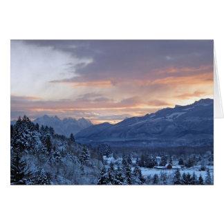 Cartão Vale de Skykomish na neve
