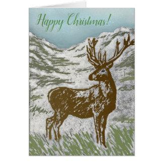 Cartão Vale nevado Linocut dos cervos escoceses do Natal