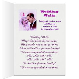 Cartão Valsa do casamento. A canção está na versão