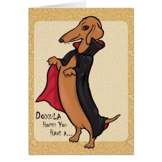 Cartão Vampiro do Dia das Bruxas do Dachshund