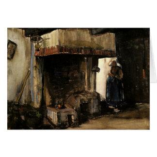Cartão Van Gogh; Mulher por uma lareira, impressionismo