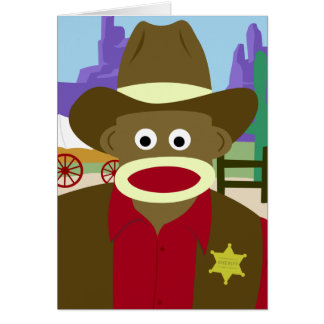 Cartão Vaqueiro do macaco da peúga