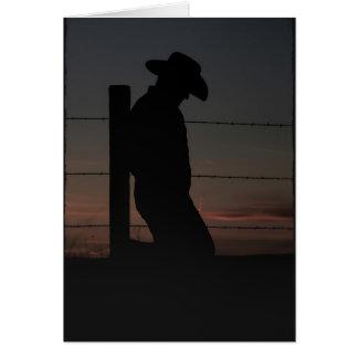 Cartão Vaqueiro no por do sol