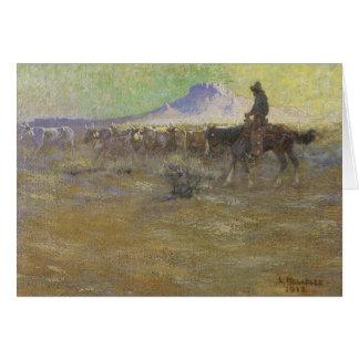 Cartão Vaqueiro que reune o gado na escala por Lon