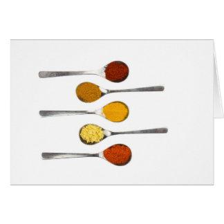 Cartão Várias especiarias do tempero em colheres do metal