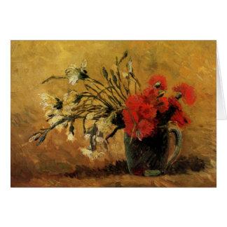 Cartão Vaso com os cravos vermelhos e brancos - Van Gogh