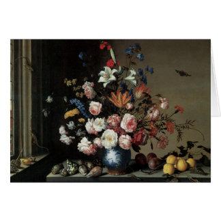 Cartão Vaso das flores por uma janela, Balthasar