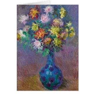 Cartão Vaso dos crisântemos Claude Monet