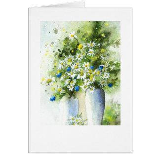 Cartão Vasos brancos no azul