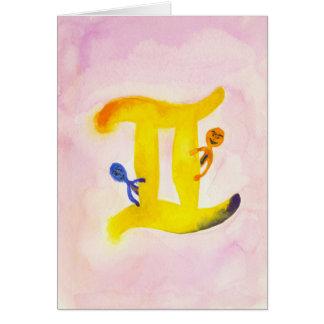 Cartão Vazio amarelo do símbolo do zodíaco dos Gêmeos
