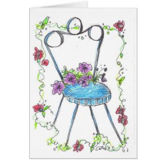 Cartão Vazio antigo Notecard do desenho da cadeira da