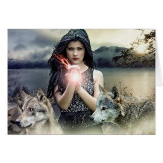 Cartão vazio: Arte mágica da fantasia da mulher