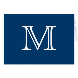 Cartão Vazio azul do branco do monograma simples para