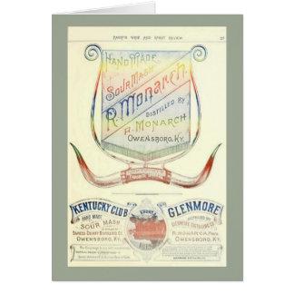 Cartão vazio com etiqueta 1893 histórica do uísque