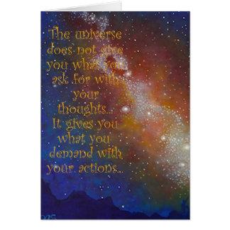 Cartão vazio da arte, galáxia, espaço, citações
