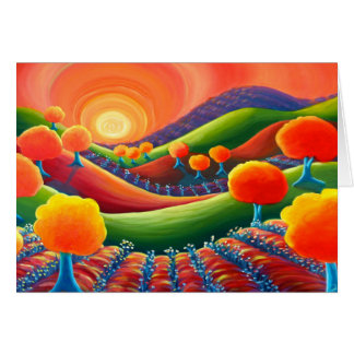 Cartão vazio da arte, por do sol original da arte