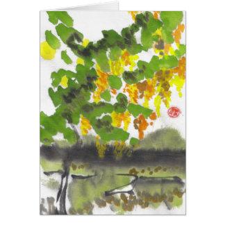 Cartão vazio da árvore do outono