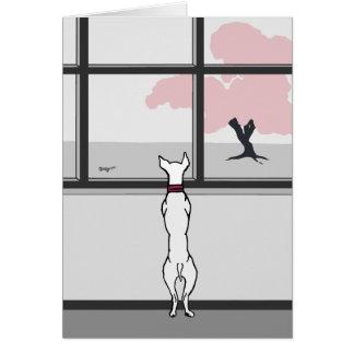 Cartão vazio da janela do Doggy na primavera