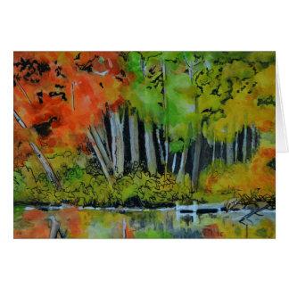 Cartão vazio da lagoa do outono de Nova Inglaterra