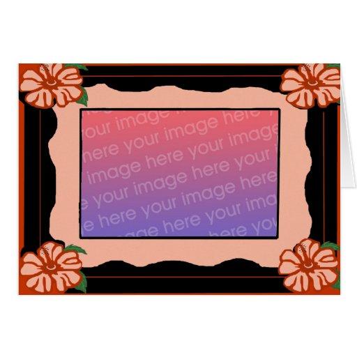 Cartão vazio da moldura para retrato do hibiscus