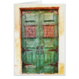 Cartão vazio da porta portuguesa velha