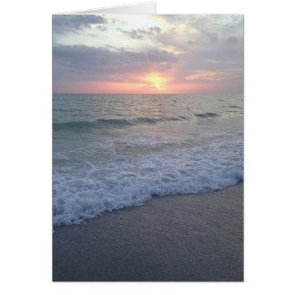 Cartão vazio da praia do por do sol de Florida