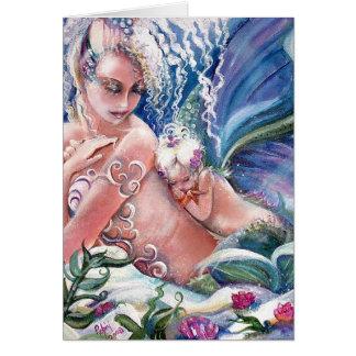 Cartão vazio das mamães & do bebê da sereia