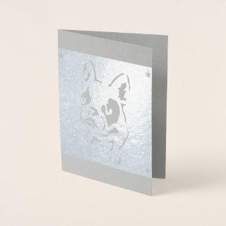 Cartão vazio de folha de prata de buldogue francês