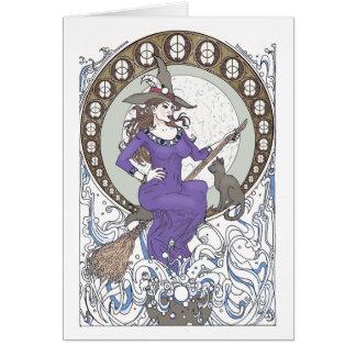 Cartão vazio de Nouveau da arte da bruxa