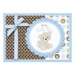 Cartão vazio de urso de ursinho do menino convites personalizado