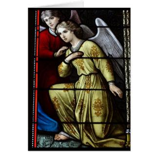 Cartão vazio do anjo do vitral