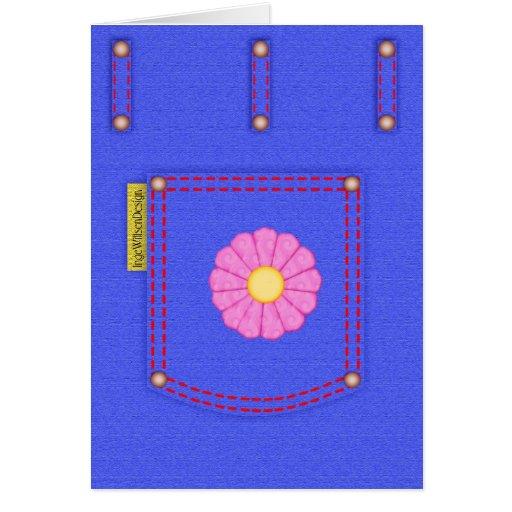 Cartão vazio do bolso de jeans da sarja de Nimes