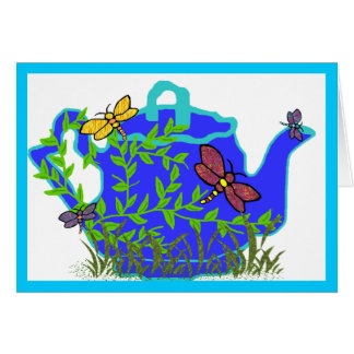 Cartão vazio do bule da libélula