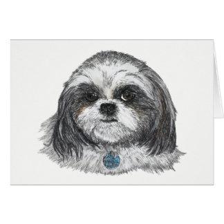 Cartão Vazio do cão de Shih Tzu