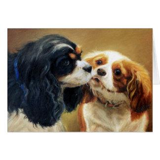 Cartão vazio do cão descuidado do Spaniel de rei