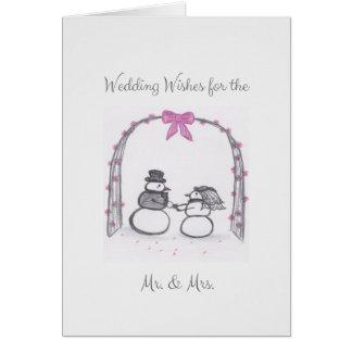 Cartão vazio do casamento no inverno