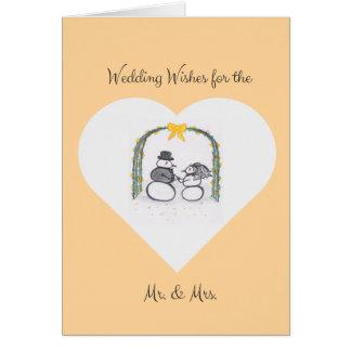 Cartão vazio do casamento no inverno do pêssego
