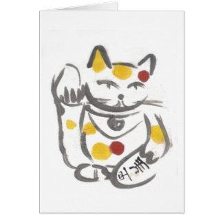Cartão vazio do gato afortunado carnudo