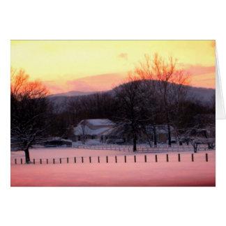 Cartão vazio do por do sol do inverno