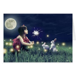 Cartão vazio dos desejos da noite de verão