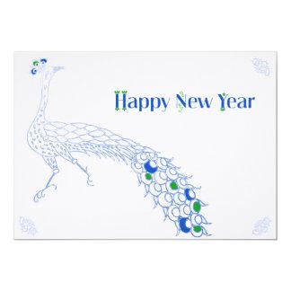 Cartão vazio elegante de ano novo no azul de convite 12.7 x 17.78cm