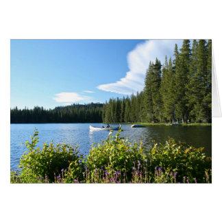 Cartão vazio, lago, canoa, Wildflowers
